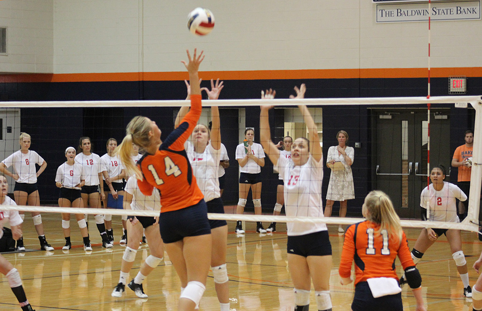 Olivia+Brees+sends+the+ball+back+over+the+net+against+MNU+on+Sept.+27.+Brees+had+five+kills+in+the+match.+Image+by+Shelby+Stephens.