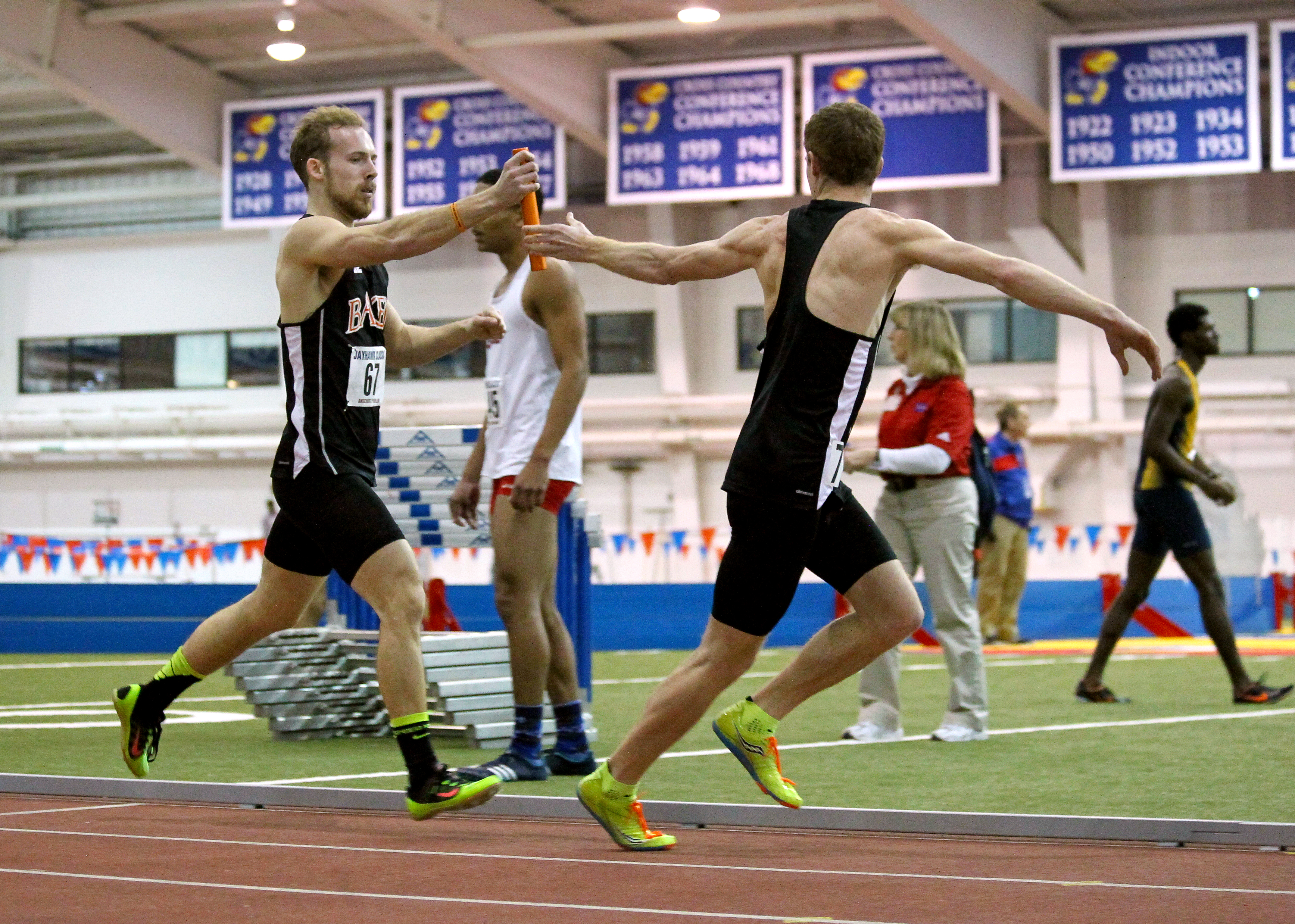 Senior Tyler Randall, left, was one of the five Baker athletes who qualified for the NAIA Indoor Track and Field National Championships. Photo by Chad Phillips.