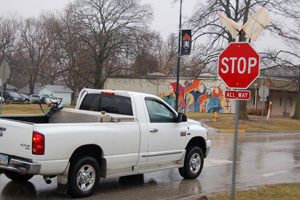 Stop signs change around Baker's campus
