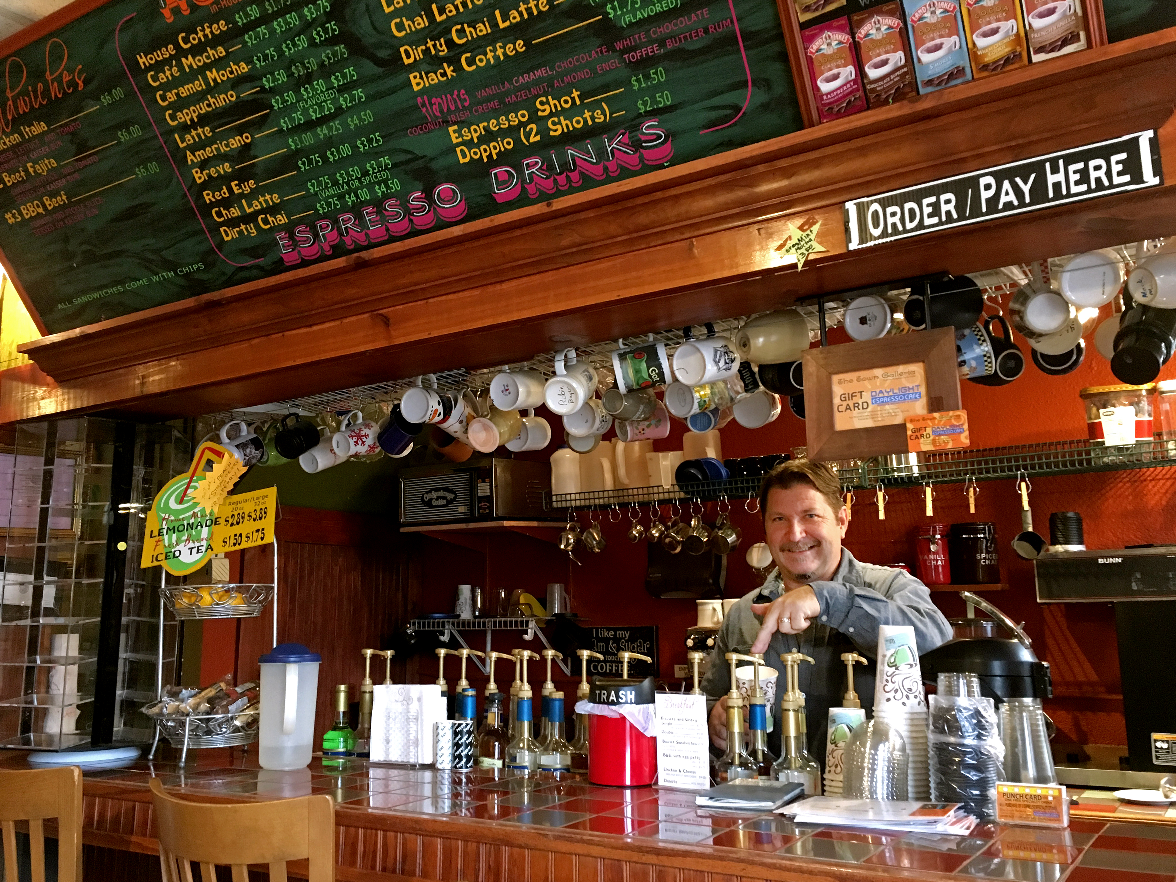 Mike Langrehr has owned the local Daylight Espresso Café since 2008 at 715 Eighth St. in downtown Baldwin City. Image by Chad Phillips.