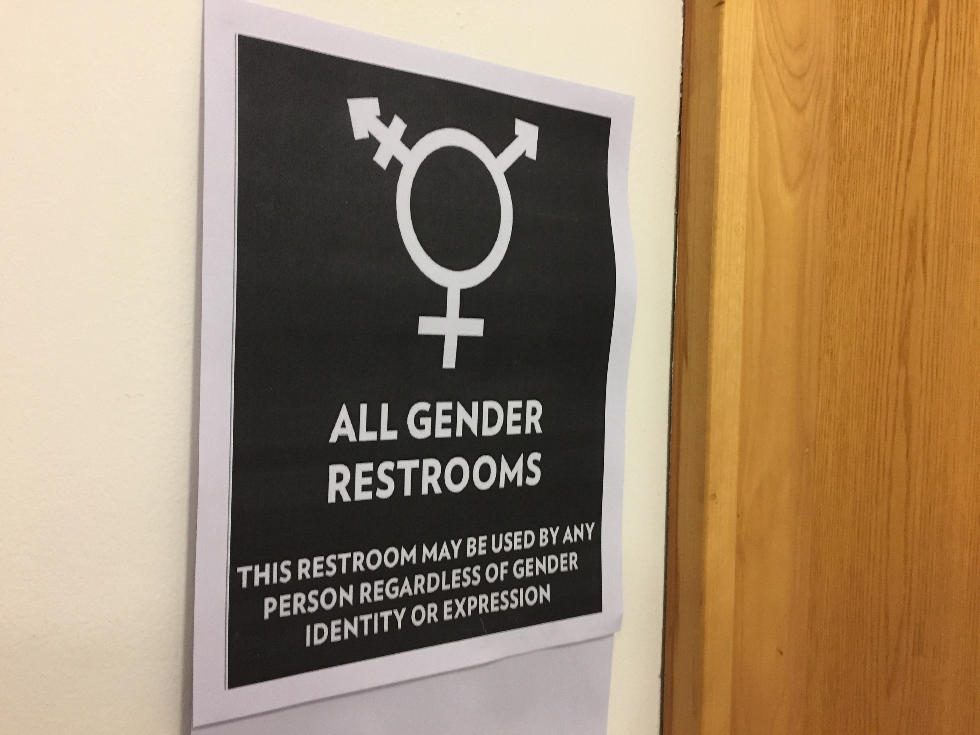 Gender-inclusive restroom signs have been placed over gendered signs in eight buildings on Baker's campus.