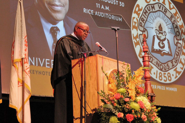 During convocation on Aug. 30 in Rice Auditorium, keynote speaker Harold Jackson reflects on his time at Baker and how he went from the projects in Birmingham, Alabama, during the Civil Rights era to becoming a Pulitzer Prize-winning journalist.