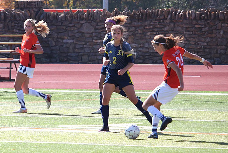The Baker women's soccer team has scored 14 goals in its last three games, including Sunday's win over Mount Mercy. Image by Bailey Conklin.