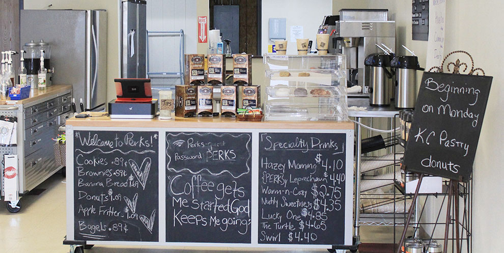Perks Coffee House and Party Shop recently opened at 914 Ames St. Image by Shelby Stephens.