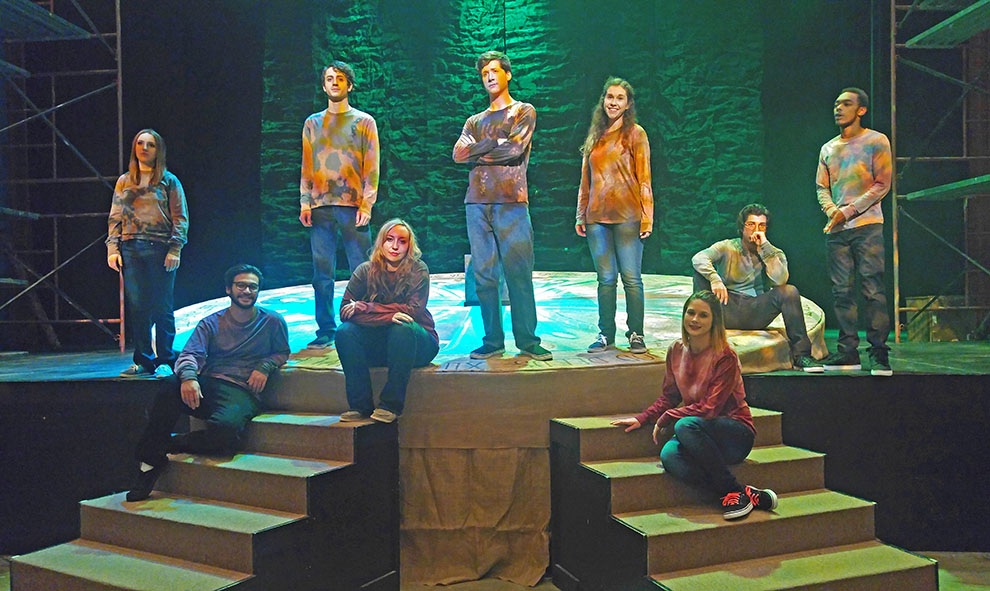 Cast+members+of+%22The+Journey+of+Everyman%22+gather+on+the+set+after+dress+rehearsal%3A+%28From+left+to+right%29+Erynne+Jamison%2C+Noah+Hastings%2C+Bryce+Paratore%2C+Lily+Stephens%2C+Jason+Shipps%2C+Alyssa+Glover%2C+Destiny+Bruno%2C+Josiah+Moreno+and+Tygee+Faulkner+%28Haley+Roberts+not+pictured%29.+Image+by+Mykaela+Cross.