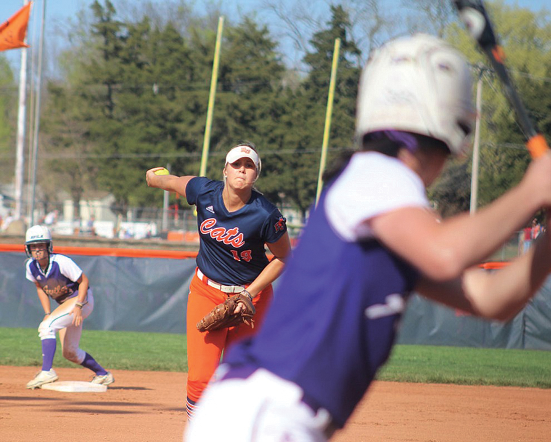 Sophomore pitcher Olivia Brees pitches during a home game at Cavaness Field. Brees now holds the school record for strikeouts in a season. Image by Shelby Stephens.