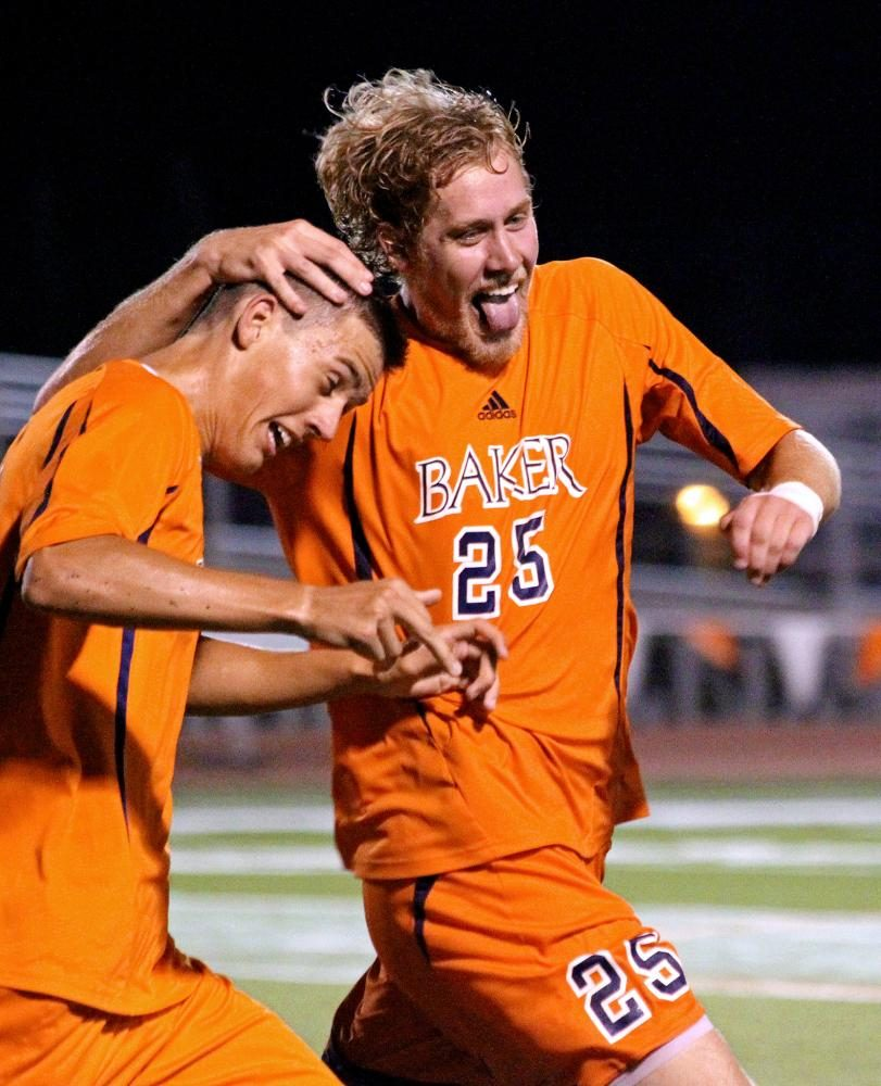 Senior Andy Griffin celebrates with sophomore Amer Didic after Didic scored the game-winning goal in the 81st minute to upset No. 6 Concordia University Irvine on Sept. 6, 2013, at Liston Stadium. This was one of my first assignments as a photographer on staff and it has continued to be one of my favorite sports photos I took while at Baker. What makes this photo even better is that Amer Didic is now playing for Sporting KC.