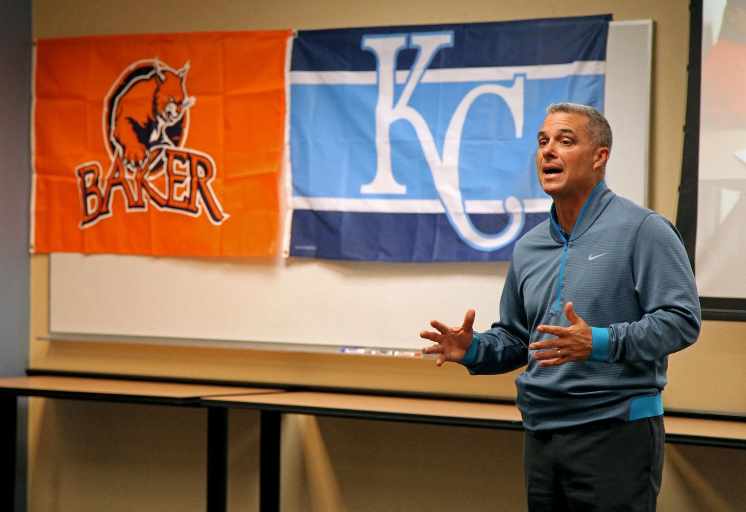 Kansas City Royals General Manager Dayton Moore discusses leadership ethics to a class on Feb. 10, 2016, at Bakers SPGS campus. The course is a part of Bakers new Doctor of Education in Educational Leadership program that started the previous August and features multiple guest speakers from the community. Because the Royals had just won the World Series the previous November, hearing their GM speak was fascinating and again reinforced how Baker consistently provides once-in-a-lifetime opportunities for its students.