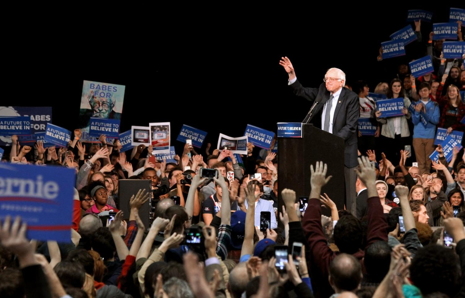 Democratic presidential candidate Bernie Sanders receives cheers from the audience at the end of his rally on Feb. 24, 2016, at the Kansas City Convention Center. Even though he didn't go on to become the Democratic party nominee, photographing a presidential candidate's rally was a fascinating experience.