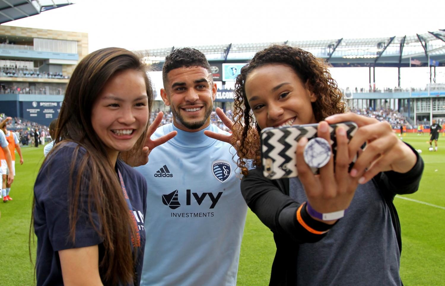 Prospective Baker students pose for a selfie with Sporting KC star Dom Dwyer at the game against the Colorado Rapids on April 9, 2017, at Childrens Mercy Park. The School of Professional and Graduate Studies hosted an event prior to the game to launch a new degree in Sports Management. Current Sporting KC staff members held a forum to discuss their jobs and then attendees had a private stadium tour afterward. Seeing Sporting KC behind the scenes was a fun experience and I'm sure it greatly impressed those prospective students thinking about attending Baker.