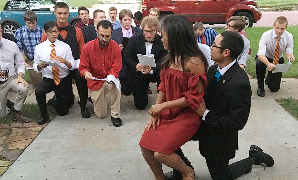 Senior Rick Rosas and his Zeta Chi fraternity brothers serenade his girlfriend senior Brittany Windom in front of Zeta Tau Alpha sorority as part of Greek serenades on Sept. 19. Photo courtesy Caitlin Hargrove.