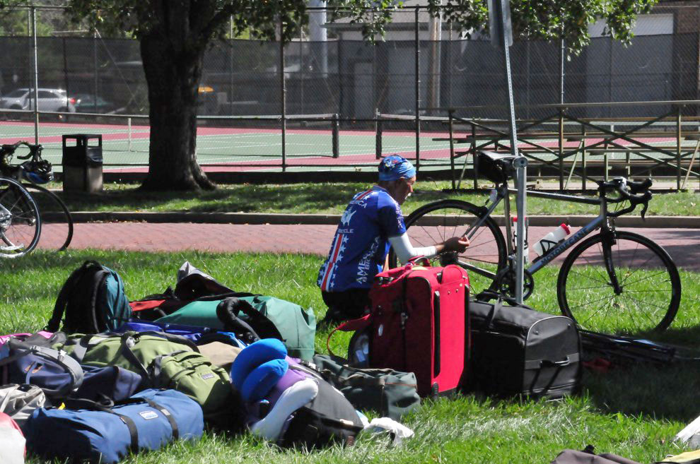 Bikers camp overnight on Mabee lawn