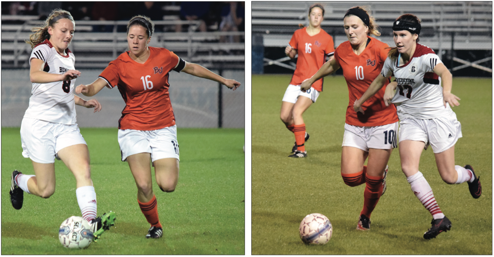 Left: Kady Dieringer assisted on Baker's first goal, scored by Jenna Lattimer. Right: Krista Hooper scored the game's winning goal on Wednesday night against Benedictine in the 73rd minute.