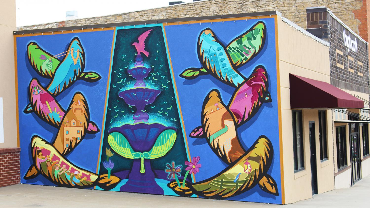 The Finished Bird Mural In Downtown Baldwin City Is On The Adjacent Wall To  The Fire Part 81