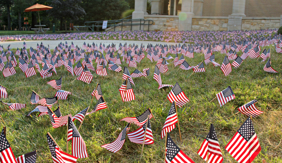 Baker Serves set out flags in remembrance of people who passed away on Sept. 11.