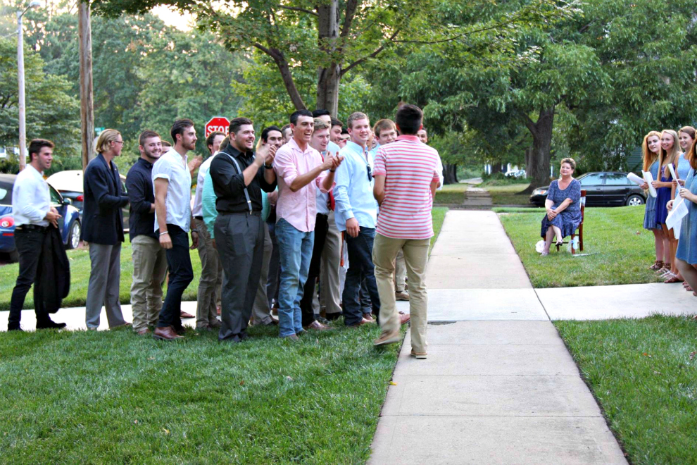 One of Sigma Phi Epsilons new members, freshmen Ty Kempf, was a late to serenades and had to join his brothers at the Tri Delta house. He was the last new member to be introduced and was thrown into the spotlight due to his tardiness and was asked to preform a solo piece for the groups.