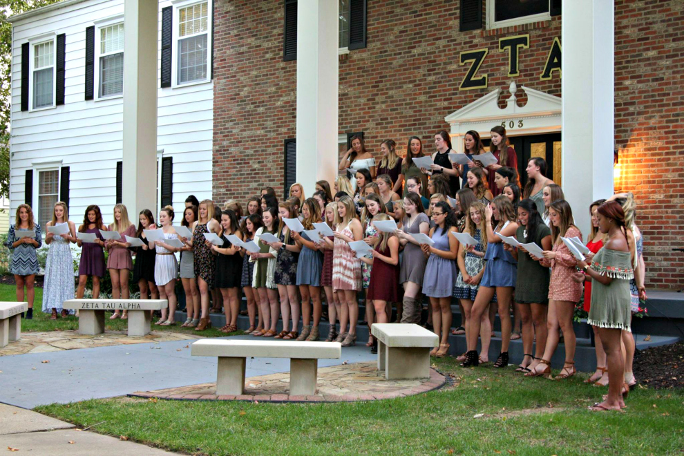 The women of Zeta Tau Alpha started off serenades by singing to the men of Zeta Chi on Sept. 14. The men of each of the four fraternities make rounds to each of the three sororities. The houses take turns singing songs to each other and exchanging jokes and banter.