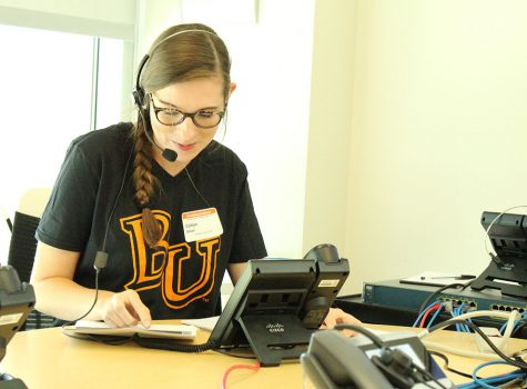 Freshman Caitlyn Baker calls donors to thank them for their support of Baker's 2018 Giving Day. 282 donors contributed to the $62,000 raised in the 24-hour event.