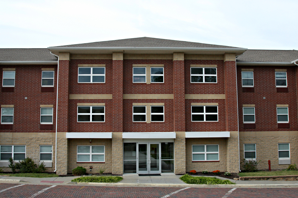 The front of the New Living Center (NLC), one of the three dorms students can live in on Bakers campus.
