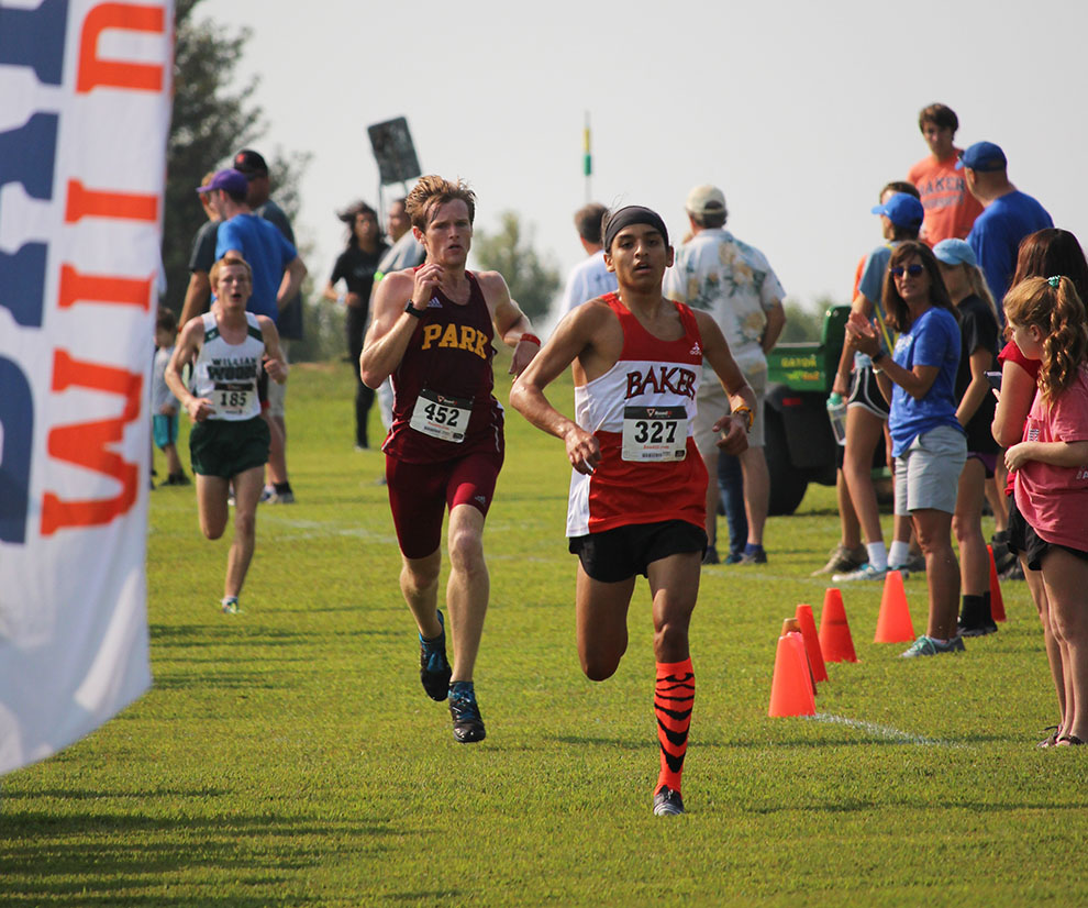 In the final meters of the race, sophomore Greg Flores makes his way to a third place finish. Flores received the Heart of America Athletic Conference runner of the week award.