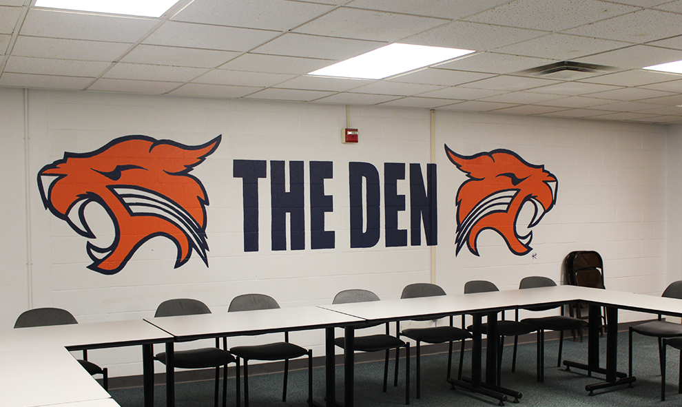 The+Den+is+located+in+the+basement+of+the+Long+Student+Center.+This+year%2C+Mungano+and+Student+Senate+meetings+will+take+place+here.+%2AThe+mural+has+since+been+painted+over.