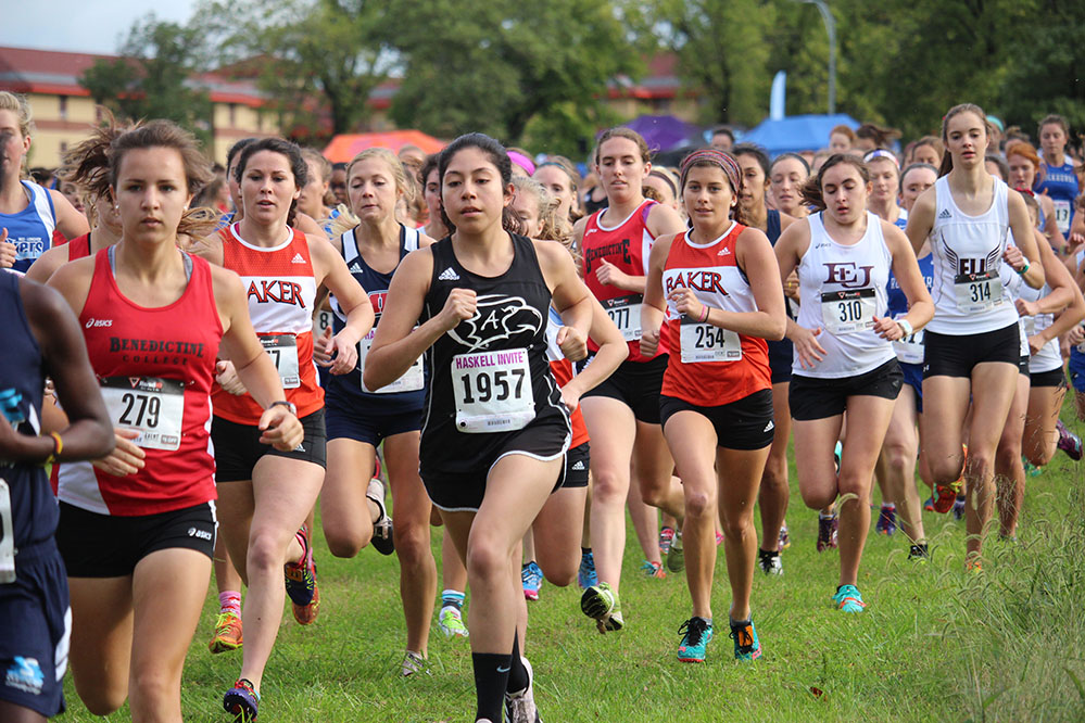 Women%27s+collegiate+runners+take+off+at+the+sound+of+the+starting+gun+for+the+first+race+of+the+day+at+the+Haskell+Indian+Nations+University+Invitational+on+Oct.+7.+Along+with+the+two+collegiate+races%2C+Haskell+welcomed+area+high+school+teams+as+well.