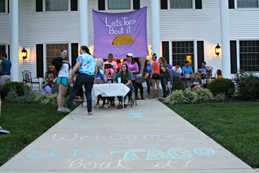 Alpha Chi Omega hosts their Lets Taco Bout It event, in support of their philanthropy, to help end domestic violence.
