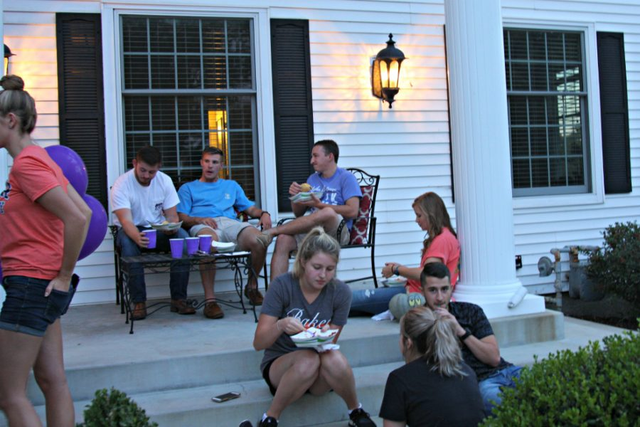 The sorority sold tickets for $5, and guests got to come in and build their own tacos for dinner, and sit amongst their peers for the evening.