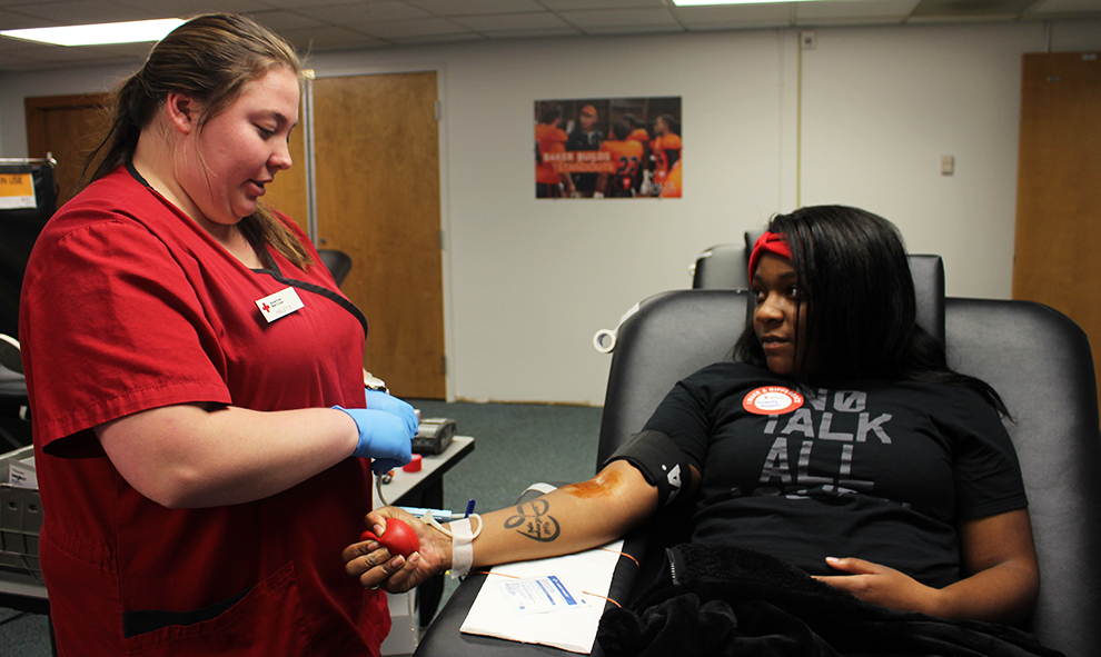 Sophomore Serenity Boggess donates blood to the American Red Cross. Her donation will go to anyone in need of a blood donation.