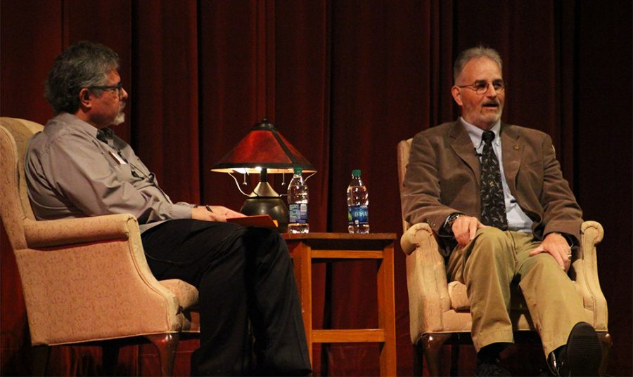 Associate Professor of History Leonard Ortiz (left) leads discussion with Vietnam veteran John Musgrave (right) about his time during the war and his life after serving. Musgrave attended Baker University and currently lives in Baldwin City with his wife.