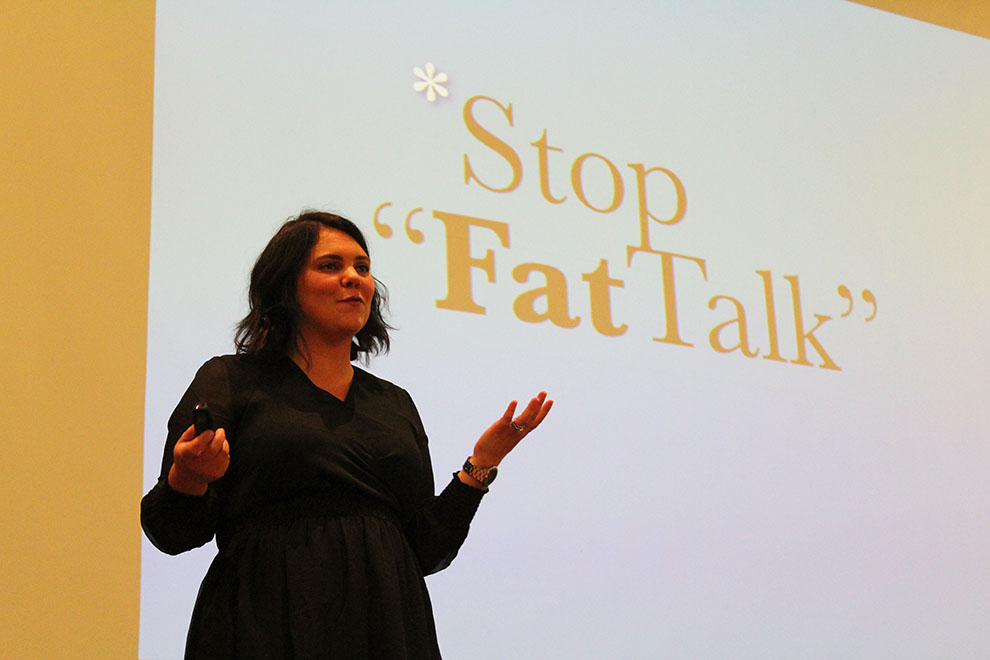Original Dove Model, Stacy Nadeau, gives a presentation over women's empowerment and body image at Baldwin High School on Oct. 25. The women of Delta Delta Delta sorority hosted the event in honor of their Body Image 3D Week.