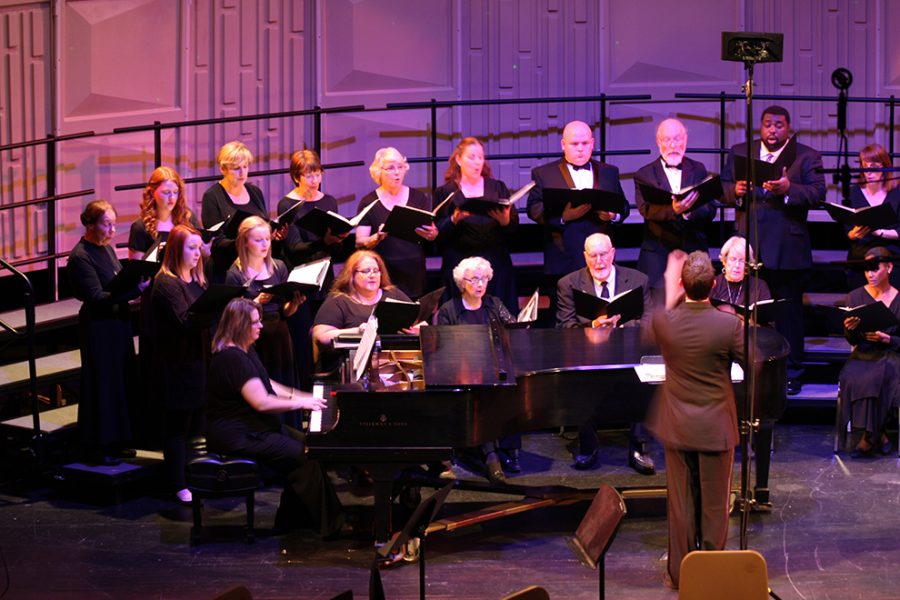 This years production featured the Concert Choir performing chosen selections from the Christmas portion of the Messiah by George Frideric Handel. Solos were performed by Baker voice faculty members Marci Ziegler, associate professor of music, and Dr. Ryan Olsen, director of choral ensembles.