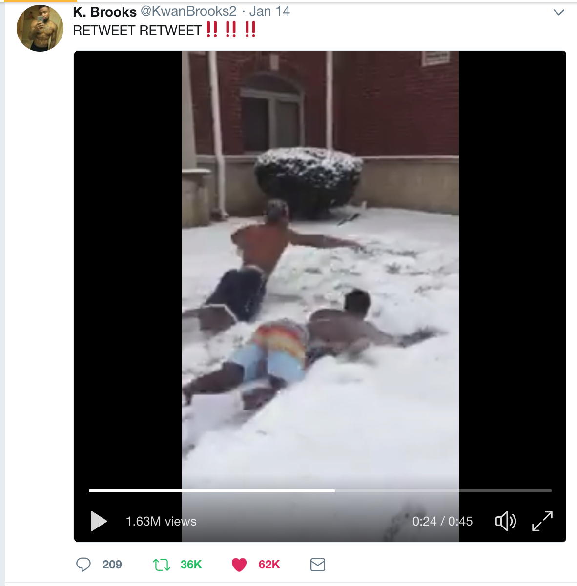 "Sophomores Kwan Brooks and Fabien Franck-Love, natives of Georgia and California respectively, enjoy the rare sight of snow. The video of them ""swimming"" in the snow  had 1.63 million views. Screenshot via Twitter."