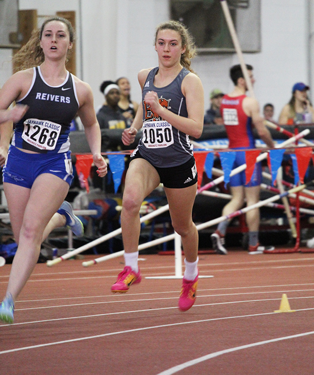 Freshman+Morgan+Thomas+runs+the+800+meters%2C+the+last+of+five+events+in+the+women%27s+pentathlon.+It+was+Thomas%27+first+time+competing+in+a+multi-event+competition.+She+finished+eighth+place+at+the+Jayhawk+Classic%2C+held+Jan.+25-26+inside+Anschutz+Sports+Pavilion.+