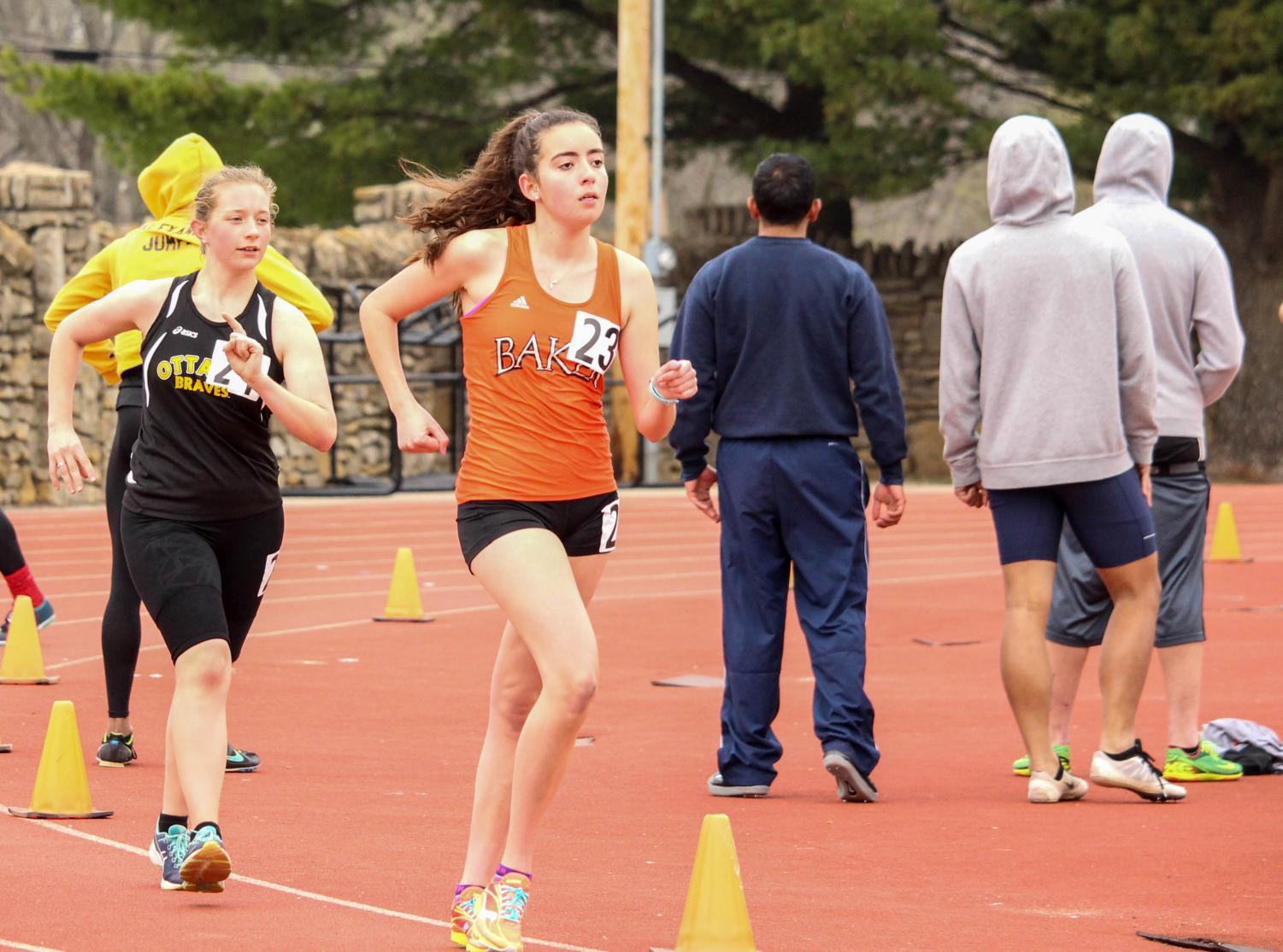 Senior Caitlin Apollo competes in the women's 3,000-meter race walk last season. Apollo is one of three Baker race walkers to qualify for the indoor national meet.