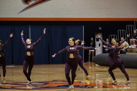 The Baker dance team performs their routine at the 2018 NAIA Southeast Regional competition in Collins Center. Baker was in first place after the preliminary round, and took third overall.