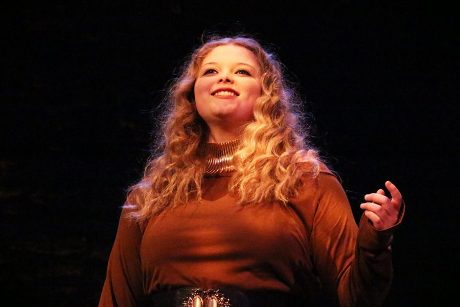 Freshman Kristina Taylor plays Cassandra in the production of