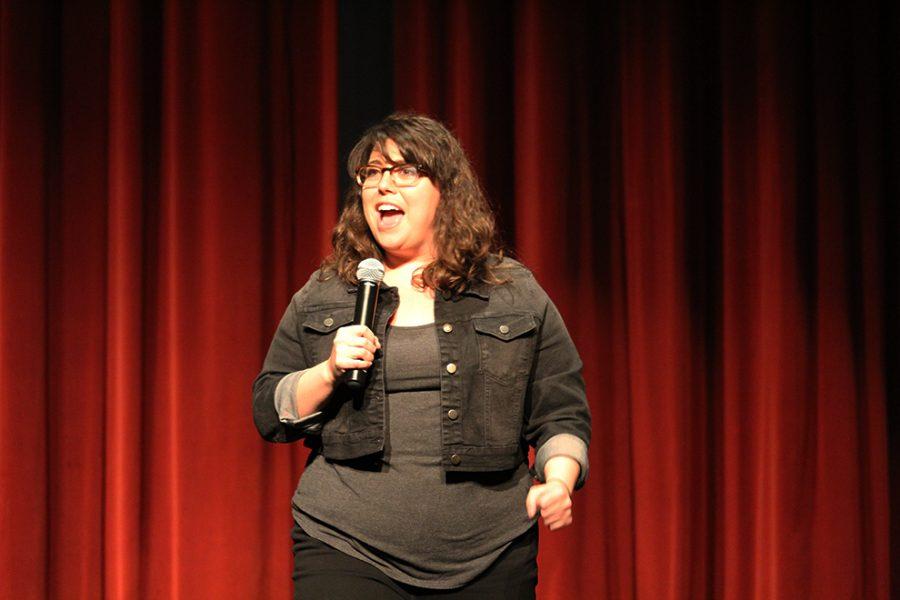 Comedian Jenny Zegrino cracks up students