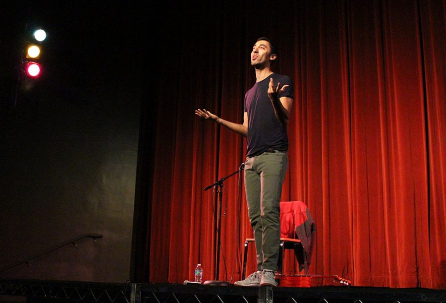 Comedian Morgan Jay performs in Rice Auditorium on January 31. Jay performed comedic original songs on his guitar from his album Love Songs...or Something Like That.