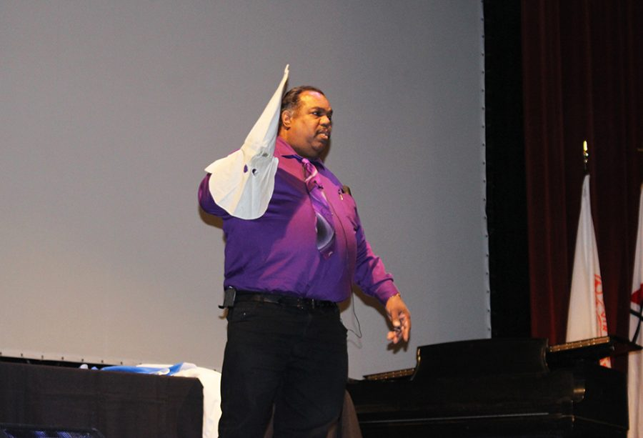 Daryl Davis delivers a speech about his experience of convincing members of the Ku Klux Klan to disband from the organization. The presentation was hosted by Student Activities Council and was held in Rice Auditorium on Feb. 6.