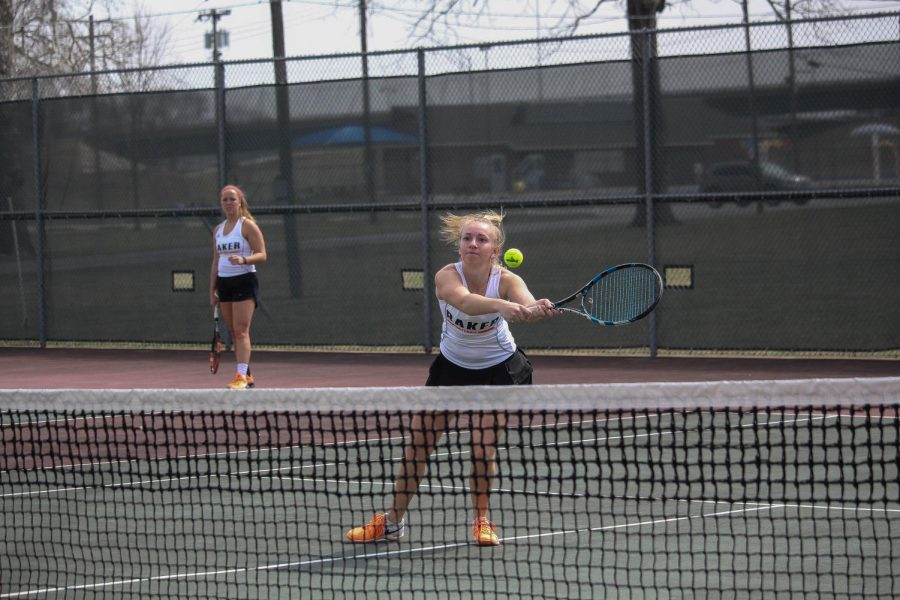 Freshman Kayelee Smith quickly reacts to return a ball in her doubles match with Morgan Francis.