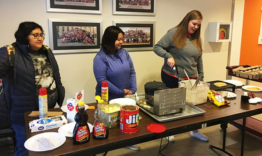 Waffles and pancakes were available in the Long Student Center on March 27. The event was hosted by the Student Activities Council to celebrate national waffle day