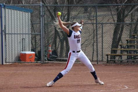Junior pitcher Olivia Brees delivers a pitch. Brees currently has 110 strikeouts this season.