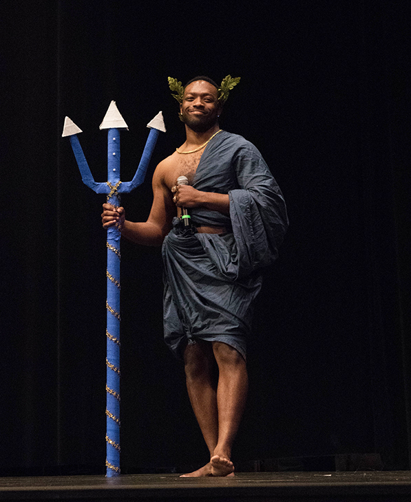 Senior Asaph Jewsome dressed in a Greek god themed costume at Mr. BU event on March 22. Jewsome was Delta Delta Delta's representative and was crowned Mr. BU. Senior Brittney Crittenden, Alpha Chi Omega's representative, finished in second place and freshman Liam Barnsby, Zeta Chi's representative, took home third.