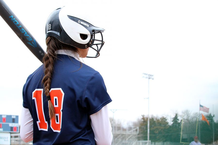 Left fielder Briele Rees prepares for an at-bat in the second game. Rees had one hit and five put outs in left field.