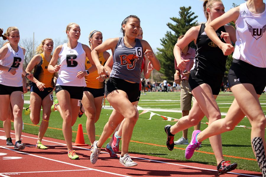 Sophomore Janeane Hernandez rounds the corner at the 200 meter mark in the 800 meter race at the Zach Kindler Wildcat Open. Hernandez completed the race in 2:31, earning her a seventh place finish.