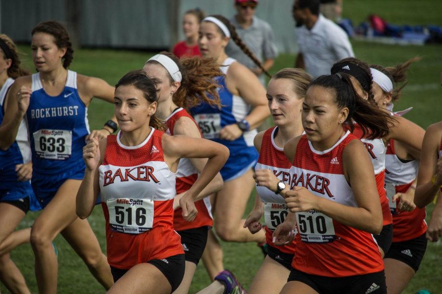 Runners Jenna Black, Sophy Tsabadze and Janeane Hernandez lead the team as their race starts.
