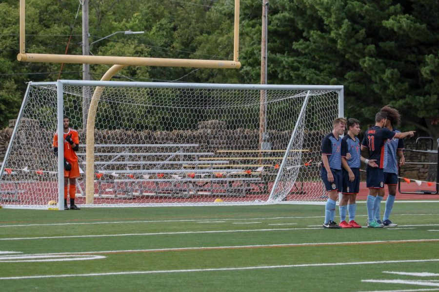 Wildcat defenders work together to form a wall during a free kick by UNOH. The Wildcats defense would help them to a 2-0 victory on Labor Day.