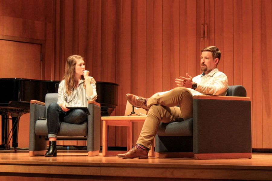 Multimedia Editor Lily Stephens interviews the Assistant Director of Student Life Josh Doak during a podcast that focuses on Greek life at Baker.