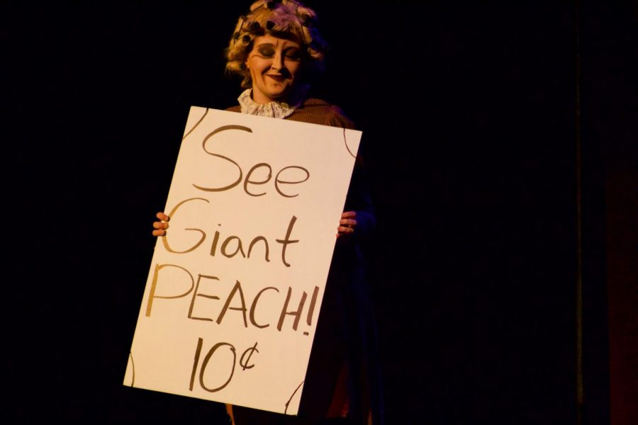 Freshman McKenzie Kuhlmann plays character Aunt Spiker during a scene in